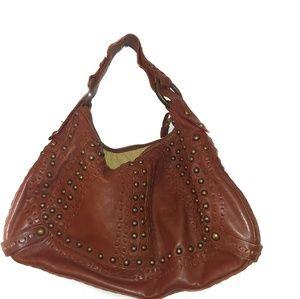 Isabella Fiore Brown LeathernStudded Shoulder Bag